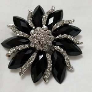 Rhinestone Brooch Flower Pin Black Silver Toned